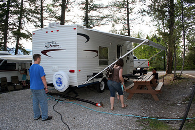 Mom & Dad's trailer spot.  In the background is Chris & Lorinda's trailer.  You can see Anissa going into their trailer.