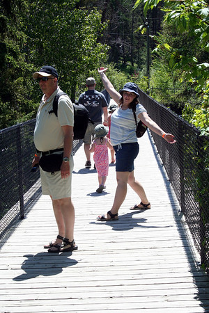 Lorinda having fun on the bridge.