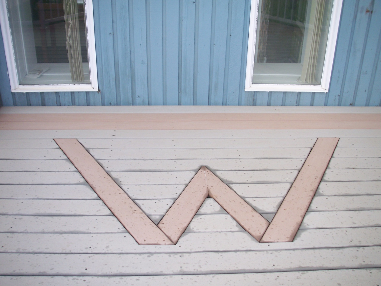 The deck outside Windsor Plywood with W for Woodson, this is Neil's vision for his deck.
