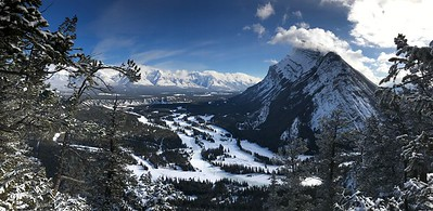 "From the ""back side"", a view of Mt. Rundle and the Banff Springs golf course."