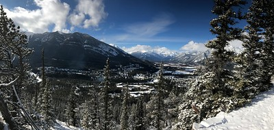 The Bow River valley and the town of Banff from near the top of Tunnel Mountain.