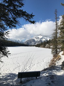Looking over the lake at Cascade Mountain.