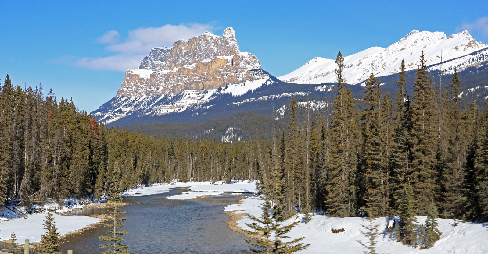 Castle Mountain and the Bow River.