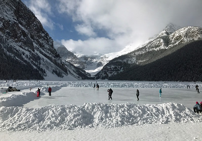 "Multiple ice skating ""rinks"" are maintained on Lake Louise."