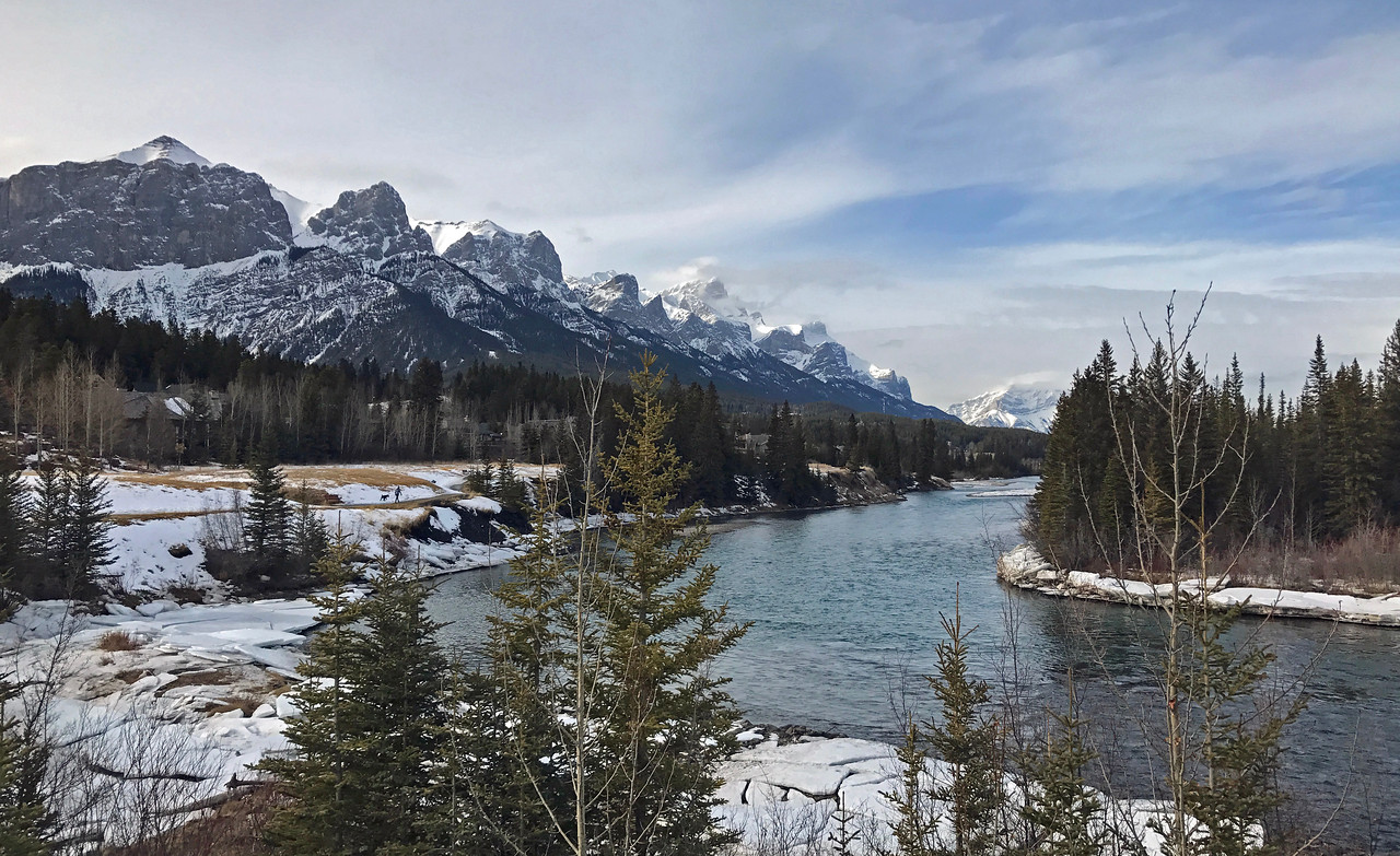 The Bow River and the Rundle Range on the south side of Canmore.