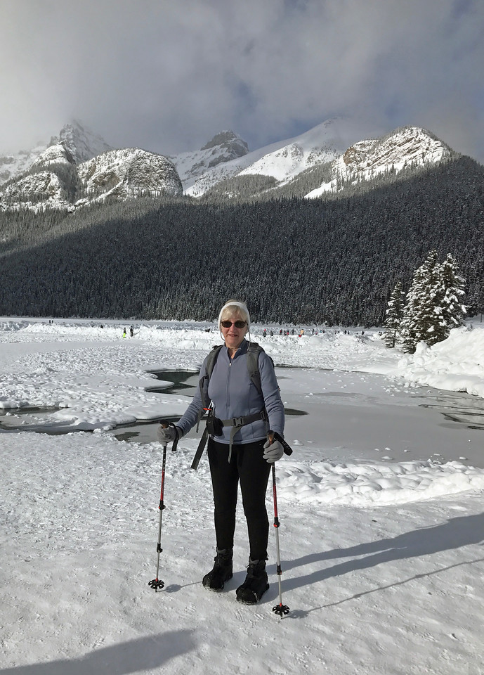 """Ready for a hike.  Our distination is almost directly over Ginny's head in the """"V"""" next to The Big Bee Hive.  Lake Agnes and its tea house is there, 4 km away and 400 meters up."""