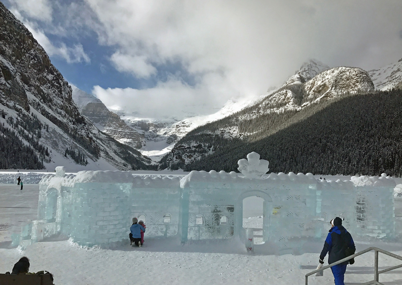 Every year, an ice castle is built on the lake in front of the Chateau.