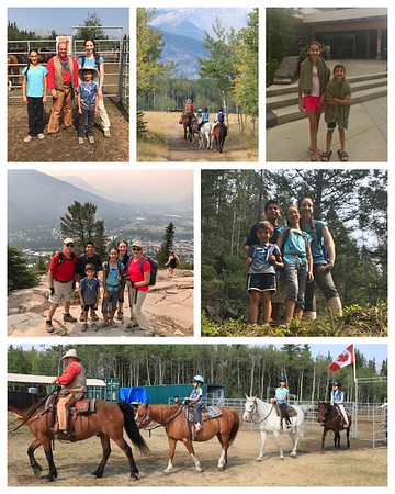 Fun day in Canmore...horseback riding with awesome views of the mountains...swimming at Elevation Place and a hike up Tunnel Mt in Banff!