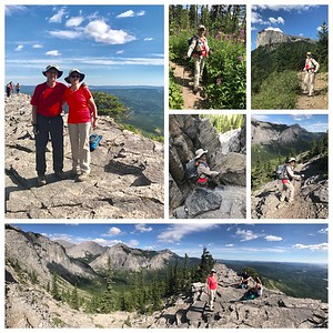 "One of our favorite hikes, Mt. Yamnuska.  Need to climb through the ""chimney"" to be ""on top of the world ""."