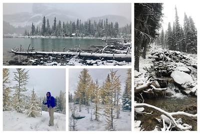 We had snow❄️❄️❄️all day hiking at Lake O'Hara...it still was beautiful!