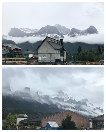 So great to be back in Canmore Alberta...a bit of snow on the mountains this afternoon!