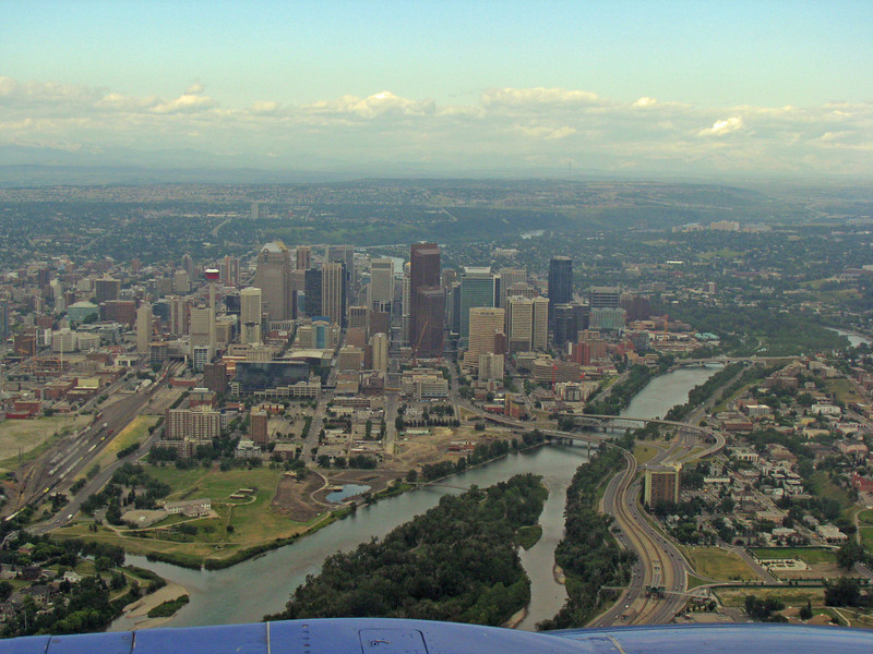Downtown Calgary from the air as we are landing....