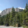 From the parking lot, looking up at the face of Mt Yamnuska
