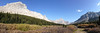 A panorama of the upper meadow from just after Elbow Lake.  Elpoca Mountain is on the left.