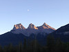 Sunset on the Three Sisters, the symbol of the town of Canmore.  This is very close to our condo.