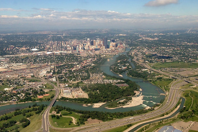 Downtown Calgary and the Bow River as we landed in Calgary.