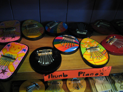 There was one of those hippie fair trade stores so we went in and found these brightly colored, unplayable thumb pianos.