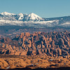 Arches National Park with the La Sal mountains in the background. Shot from the ridge between Upper & Lower Granary