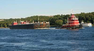 Closer up picture of the tugboat on the canal at Cape Cod, MA