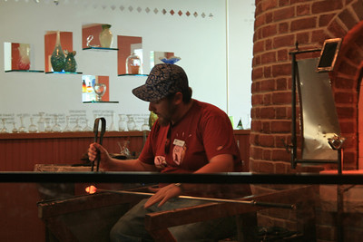 Demonstrating glass blowing at Sandwich Glass Museum, Sandwich, Cape Cod, MA