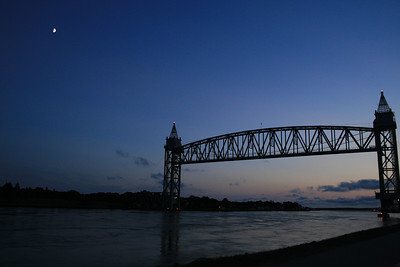 The moon was out over the Bourne railroad bridge, Bourne, MA