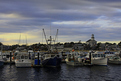 Provincetown harbor, looking towards Provincetown at sunset.