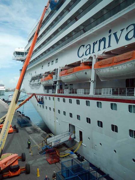Boarding the Carnival Destiny in the Miami Port, Saturday noon.