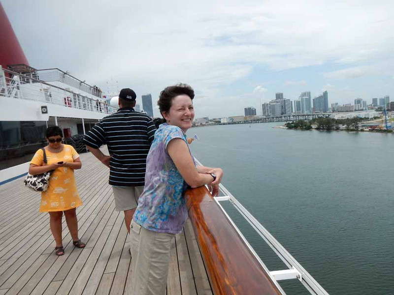 On the lido deck, leaving Port of Miami.