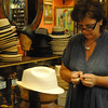 Tim's new Panama hat being custom-made.