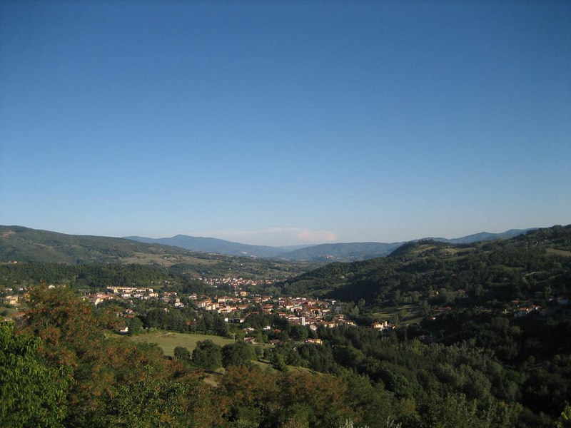 View from Porciano towards Poppi, and its catle, and Bibiena