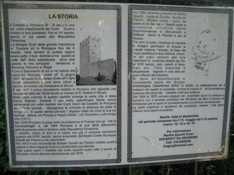 Italian description of the castle and its history