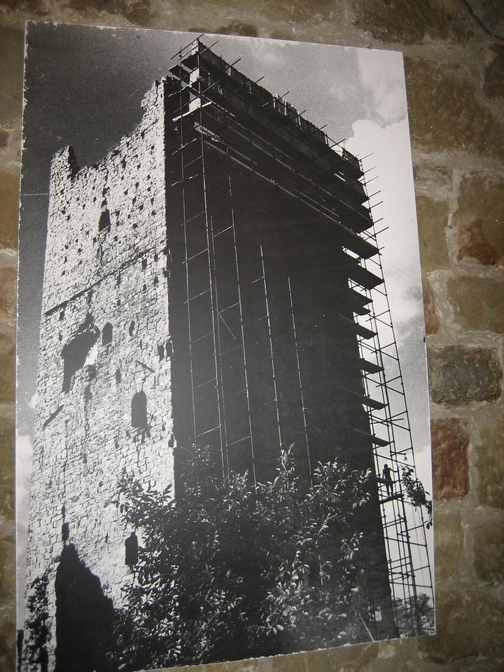 Old photo of reconstruction work of the old deteriorated tower of the castle