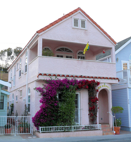 Pink House with Flowers