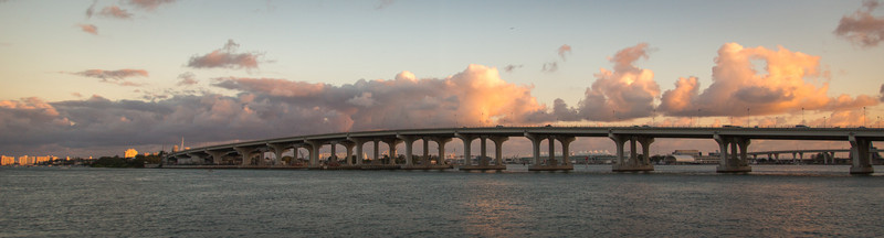 Sunset over the MacArthur Causeway. Miami.