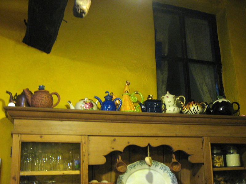 Tyr's teapot collection.  The Queen owns a teapot of Tyr's, I think!