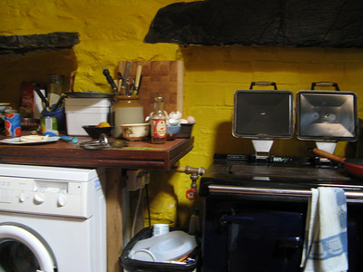 The kitchen was yellow!  So cheery!