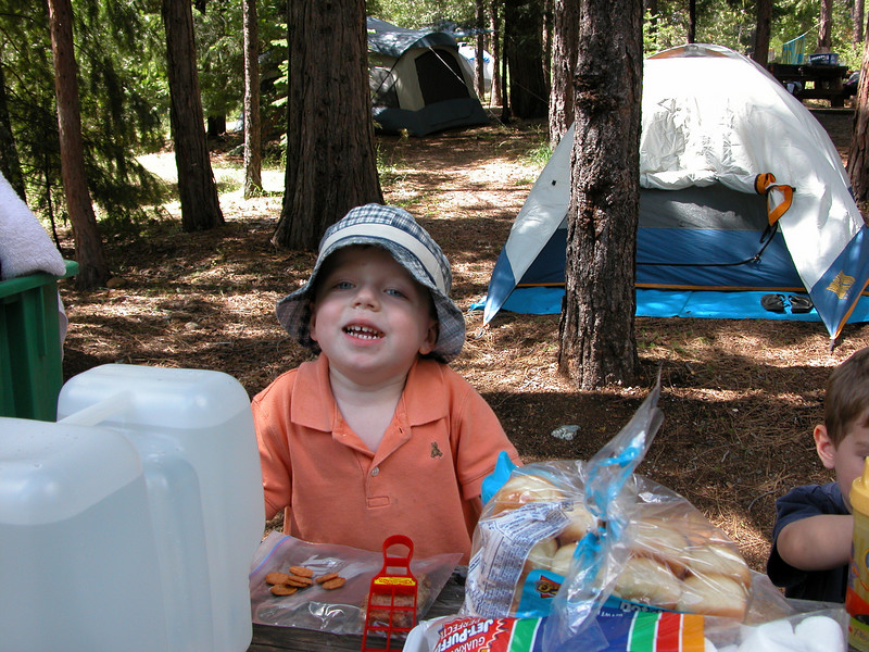 AJ gets settled in at the campsite