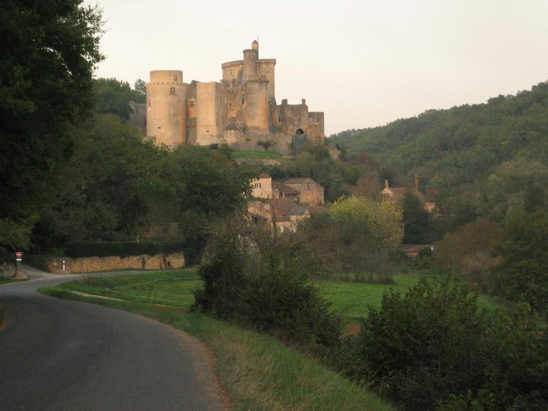 Chateau de Bonaguil, view from a distance as you approach the castle