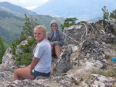 Maria Smith and Maddy on the Summit of South Navarre. Lake Chelan in Background 6700 feet below.