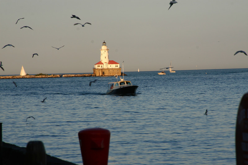 A lighhouse at the end of Navy Pier