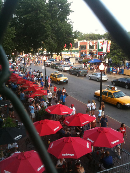 Looking out From Wrigley to an excellent street restaurant.