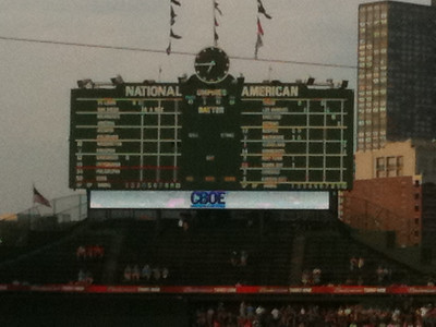 The classic old Wrigley Field scoreboard.