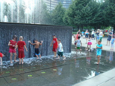 Cooling down in a fountain after visiting Navy Pier.