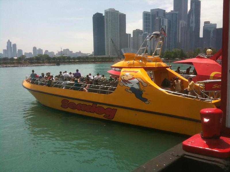 Goin on a speedboat ride at Navy Pier.