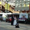 Bride and Groom in the middle of the street, downtown Chicago ( 2011 )