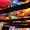 This is a ceiling with clear glass as a top and colored glass added to it