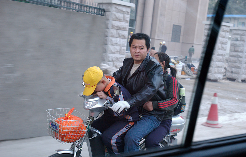 China, Beijing, Typical Transportation Arrangement (sometimes seen with dog on running board)