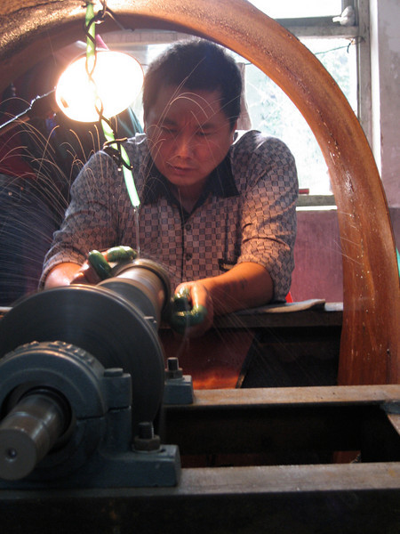 China, Beiing, Cloisonne (Beijing Enamel Factory), Polishing