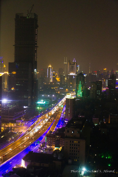 Nightime view of Shanghai from our hotel room