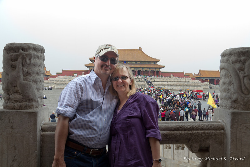 Mike, Roe and lots of people in the Forbidden City.